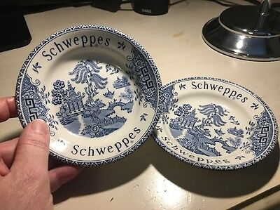 Pair Of Schweppes Dishes Blue And White Willow Pattern Barratts China