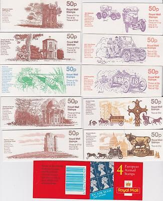 """GREAT BRITAIN 11 Booklets / 10 x 50p + 4 x """"E"""" stamps / B3435"""
