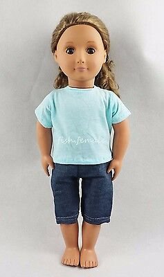 Simple Style Pure Blue T-shirt With Jeans For 18''American Girl Doll Clothes