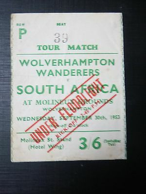 WOLVERHAMPTON WANDERERS v SOUTH AFRICA   1953 TICKET  REAR