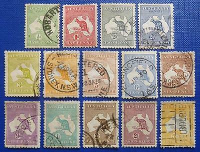 x 14. diff old KANGAROO stamps (1/2d - 5/-) - used.