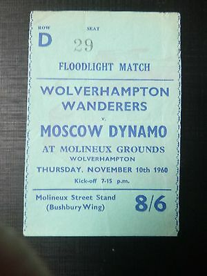 WOLVERHAMPTON WANDERERS v MOSCOW  1960 TICKET  PLEASE READ