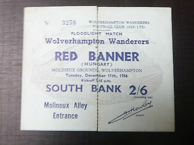 WOLVERHAMPTON WANDERERS v RED BANNER   1956   TICKET