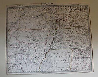 1833 Color Outlined Engraving of Mid South USA incl MO, IL, KY, TN, AL, MS, AR