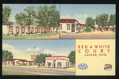 1948 3-view linen postcard, Red & White Court & Mobil gas station CASPER Wyoming