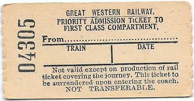 GWR Railway ticket : Priority Admission Ticket to First Class compartment