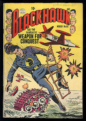 Blackhawk (1944) #86 1st Print Weapon For Conquest Human Torpedoes Sci-Fi VG/FN