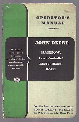 1953 John Deere Tractor Disk Harrow Lever Controlled Operators Manual