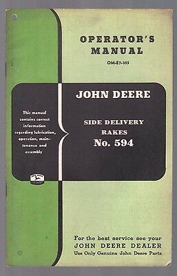 1955 John Deere Tractor Side Delivery Hay Rake No 594 Operators Manual