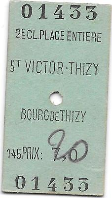 France Railway ticket : St Victor-Thizy - Bourg de Thizy 1948