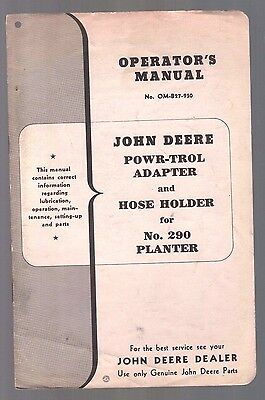 1950 John Deere Tractor Powr Trol Hose Holder For 290 Planter Operators Manual