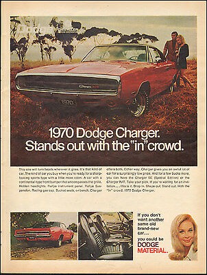 1969 Vintage ad Dodge Charger`Red Black top Photo retro car (010116)