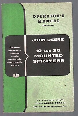 1958 John Deere Tractor 10 20 Mounted Sprayer Equipment Operators Manual