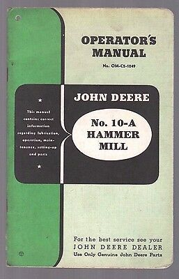 1949 John Deere Tractor No 10 A Hammer Mill Grinder Operators Manual