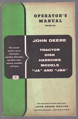 1956 John Deere Tractor Ja Jba Disk Harrow Equipment Operators Manual Catalog