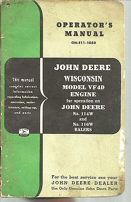 1950 John Deere Tractor Wisconsin Model Vf4D Engine Balers Operators Manual