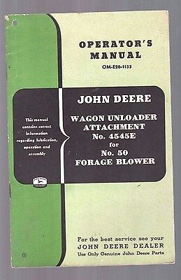 1953 John Deere Tractor Wagon Unloader + No 50 Forage Blower Operators Manual