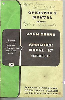 1957 John Deere Tractor Model R Spreader Series 1 Operator Manual