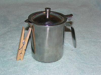 Vintage JAPAN Restaurant GEMCO 1 Cup Coffee Creamer/Syrup Pitcher+ LID Stainless