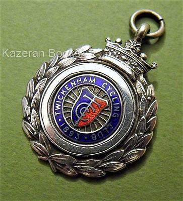 Solid Sterling Silver Enamel Pocket Watch Fob Medal Twickenham Cycling Club 1938