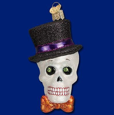 Old World Christmas Top Hat Skeleton Glass Halloween Ornament 26068 FREE BOX New
