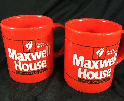 Set of 2 Vintage MAXWELL HOUSE INSTANT COFFEE Red Cups Mugs JAPAN