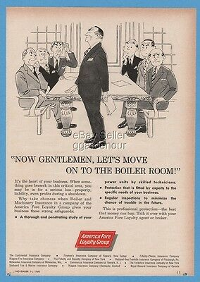 1960 America Fore Insurance Group Board Boiler Room Magazine Art Print Ad