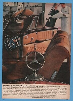 1960 Mercedes Benz Leather Interior Veneers Hood Ornament Great Art Photo Ad