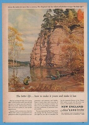 1960 Tom Lovell Wisconsin Dells Art GORGEOUS New England Life ad