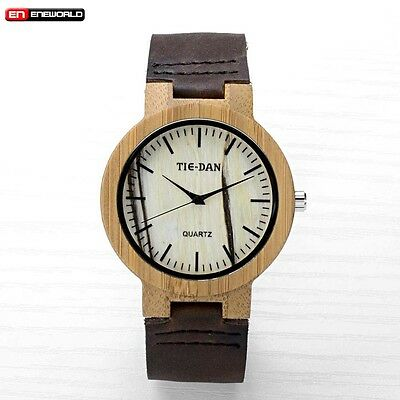 Men's Women's Natural Bamboo Wood Watch Wooden Quartz Leather Wristwatches w/Box