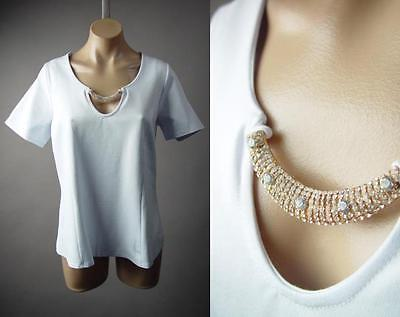 White Minimalist Jeweled Neck Career Office Party Top 216 mv Blouse 1XL 2XL 3XL