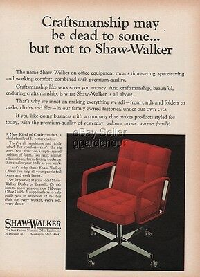 1970 Shaw Walker Office Chair Furniture Muskegon MI photo vintage print Ad