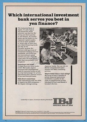 1987 Industrial Bank of Japan IBJ international investment yen finance photo ad