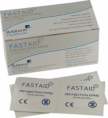 50 x FastAid 70% IPA Alcohol Wipes Pre-Injection Swabs