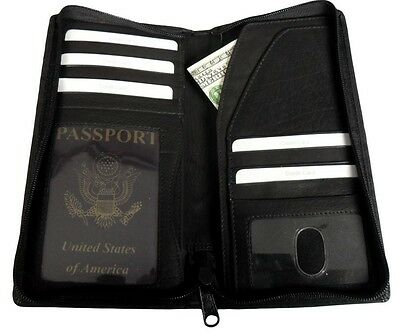 Mens Leather Travel Wallet Passport Airline Ticket Case Zipper Close Credit Card
