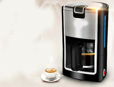 Black Stainless Steel Capacity 1.2L Home Office Automatic Drip Coffee Maker #