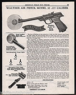 1954 Print AD WALTHER Model 53 Air Pistol Collectible ADVERTISING Page
