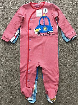 Bnwt Next Bright Transport Sleepsuits, Three Pack, Size 12-18 Months