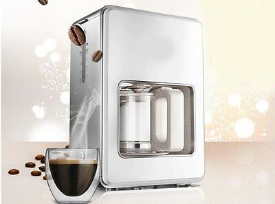 New White Plastic Capacity 1.2L Home Office Mini Fully-Automatic Coffee Maker *