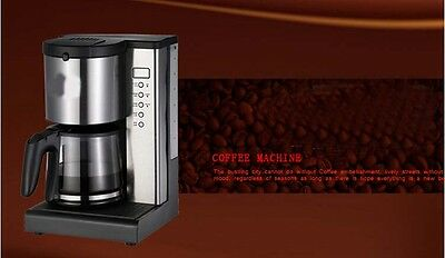Black Stainless Steel Capacity 1.5L Home Office Fully-Automatic Coffee Maker *