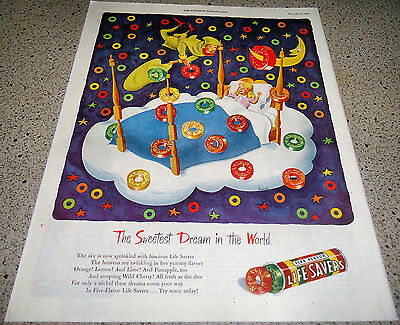 1946 LIFE SAVERS Candy AD Girl Child in 4 Poster Bed ~ Sweet Dreams