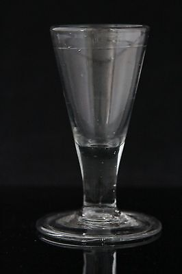 antique early 18th C leaded, crystal Wine Glass with folded foot, ca. 1740