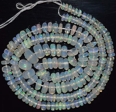 """15"""" Stunning Natural Ethiopian Welo Fire Opal Smooth Rondelle Beads EB1708"""