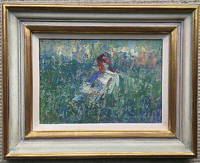 Cornish Oil Painting by Raymund Rogers (1958-2011) Rosie at Belle Oreol