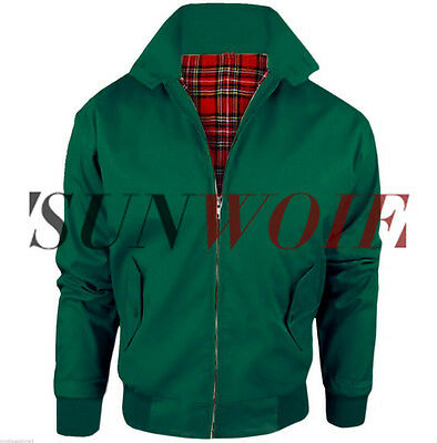 Mens GREEN Harrington Mod Jacket Scooter 1970's Vintage Bomber Coat UK XXL