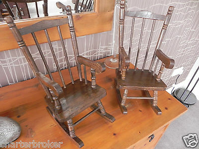 """Lovely pair of vintage 13"""" high solid wood Rocking Chairs for dolls / bears"""