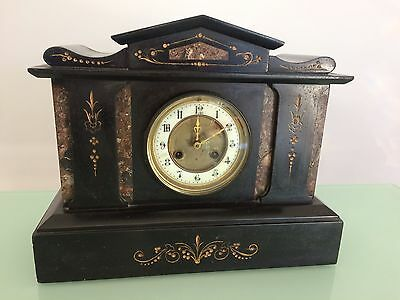 Victorian Black Marble 8 Day Mantle Clock