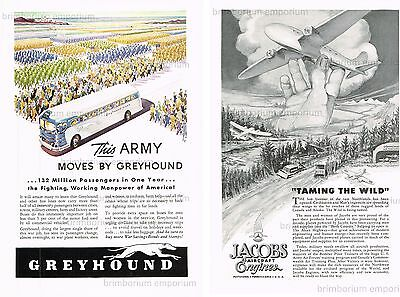 Greyhound Lines + Jacobs Aircraft Engines - Original Anzeigen von 1943