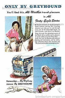 Greyhound Lines ALL-WEATHER TRAVEL PLEASURE - Original Anzeige von 1947