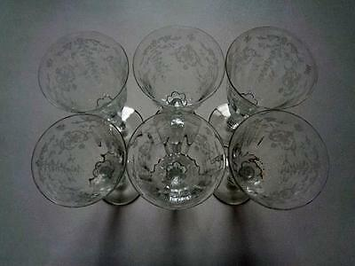 Set Of 6 Water Goblets Navarre Clear by Lenox Fostoria Etched Ribbed Stemware